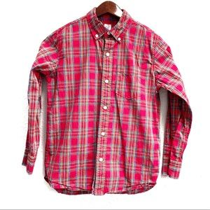 GAP Red Plaid Cotton Button Down Shirt Youth Large